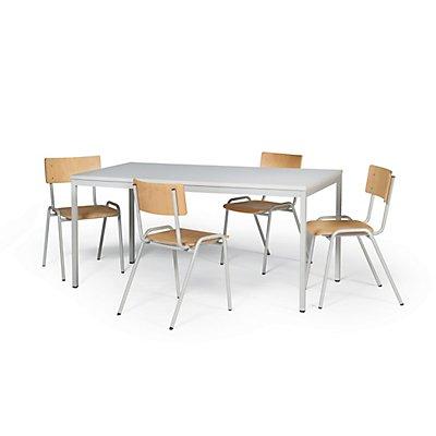 Protaurus Tisch-Stuhl-Kombination | Großer Tisch + 4 Stapelstühle | Buche