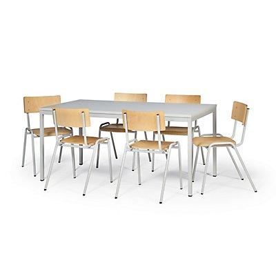 Protaurus Tisch-Stuhl-Kombination | Großer Tisch + 6 Stapelstühle| Buche