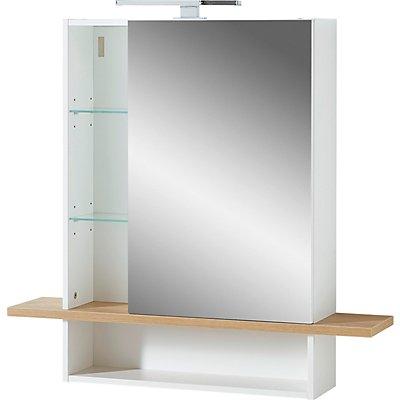 Certeo GW-Novolino Spiegelschrank | HxBxT 91 x 90 x 25 cm | Weiß/Navarra-Eiche
