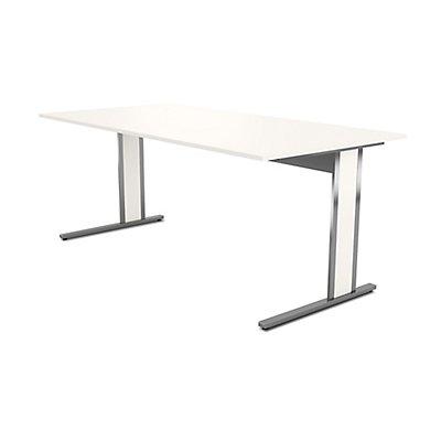 Kerkmann Aveto Schreibtisch mit C-Fuß-Gestell - mit Edelstahl-Elementen