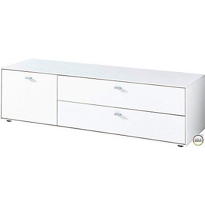 Certeo Lowboard  HxBxT 390 x 1370 x 490 mm, weiß/navarra-eiche