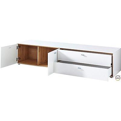 Lowboard  HxBxT 390 x 1370 x 490 mm, weiß/navarra-eiche