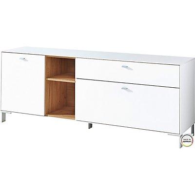 """Certeo Lowboard """"DESIGN2"""" HxBxT 650 x 1670 x 440 mm, weiß/navarra-eiche"""