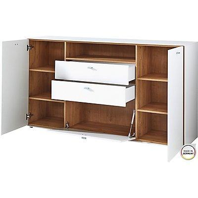"""Certeo Sideboard """"DESIGN2"""" HxBxT 920 x 1670 x 440 mm, weiß/navarra-eiche"""