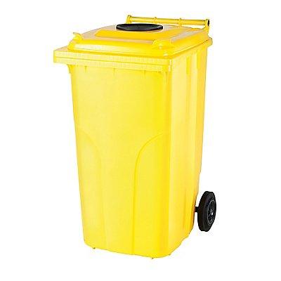 Abfallbehälter | Runder Einwurf | Gelb | Certeo