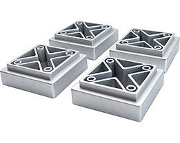 Certeo GW-Novolino Fußset | HxBxT 2 x 5 x 5 cm | Aluminium