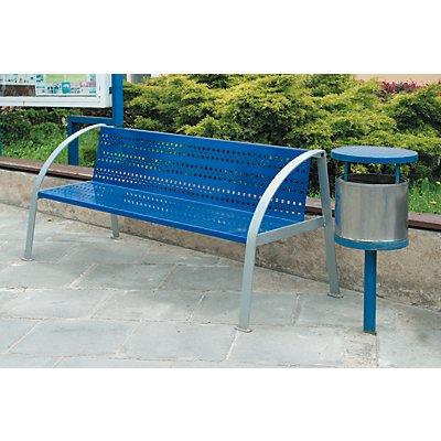Metallbank mit Rückenlehne | Länge 2000 mm | Gewicht 59 kg | Grau/Blau | Certeo