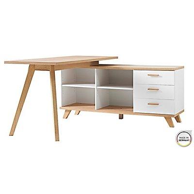 """Certeo Schreibtisch """"GW-Oslo"""" HxBxT 750 x 1440 x 1450 mm, weiß/sanremo-eiche"""