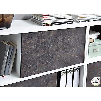 """Certeo Schiebetürregal """"GW-ALTINO"""" HxBxT 740 x 1200 x 360 mm, weiß/basalto-dunkel"""