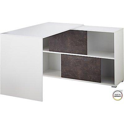 """Schreibtisch, Winkelschreibtisch, Eckschreibtisch """"Berlin"""" HxBxT 750 x 1200 x 1200 mm, weiß/basalto-dunkel"""
