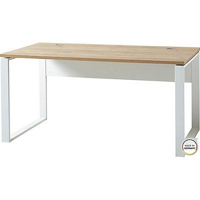 """Certeo Schreibtisch """"GW-Liono"""" HxBxT 750 x 1580 x 790 mm, weiß/navarra-eiche"""