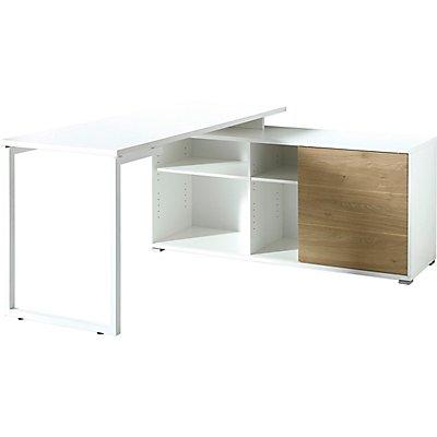 """Certeo Schreibtisch """"Rom"""" HxBxT 750 x 1460 x 1450 mm, weiß/kendal-eiche"""