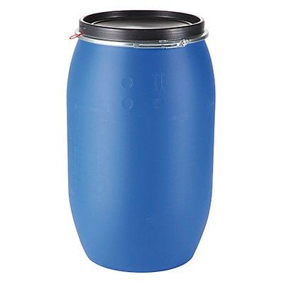 Kunststofffass mit abnehmbarem Verschluss | Blau/Schwarz | Certeo