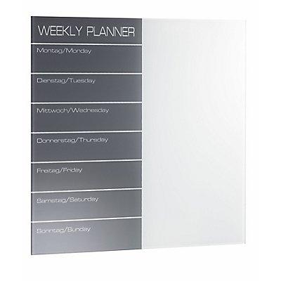 Magnetische Glastafel Wochenplaner - inkl. Stift und Würfelmagnete - Wochenplaner