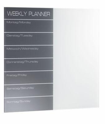 Magnetische Glastafel Wochenplaner - inkl. Stift und Würfelmagnete -