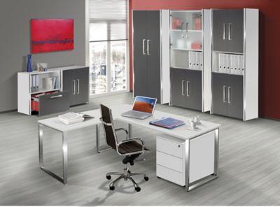 Aveto Schreibtisch mit Edelstahl-Kufen-Gestell - höhenverstellbar