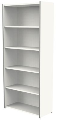 Form 4 Büroregal breit - 5 Ordnerhöhen, 800 x 1830 x 380 mm - Weiß