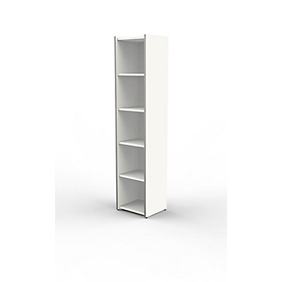 Form 4 Büroregal schmal, weiß - 5 Ordnerhöhen, 410 x 1830 x 380 mm - Weiß
