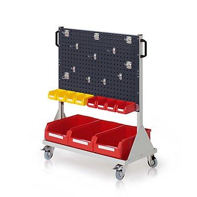 RasterMobil Gr 3 RAL 7035, H1230 x B1000 x T500 mm 1 x Werkzeughaltersortiment 12-teilig, 1 x Lagersichtkastenhalter 990 mm, 3 x Lagersichtkästen Größe 2, 8 x Lagersichtkästen Größe 7