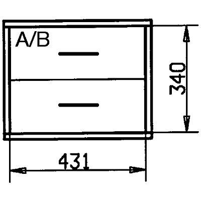Wedeka Holzschubladenblock - Breite 467 mm, 2 Schubladen - Tiefe 295 mm, grundiert und mattiert