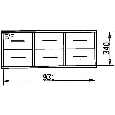 Wedeka Holzschubladenblock - Breite 967 mm, 4 Schubladen - Tiefe 395 mm, grundiert und mattiert