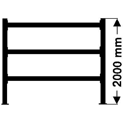 Weitspannregal, mit verzinkten Stahlböden, Höhe 2000 mm - Tiefe 800 mm, Traversenlänge 1800 mm