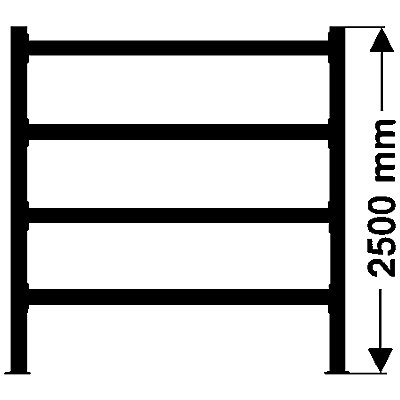 Weitspannregal, mit verzinkten Stahlböden, Höhe 2500 mm - Tiefe 1100 mm, Traversenlänge 1800 mm