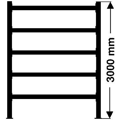 Weitspannregal, mit verzinkten Stahlböden, Höhe 3000 mm - Tiefe 1100 mm, Traversenlänge 1800 mm