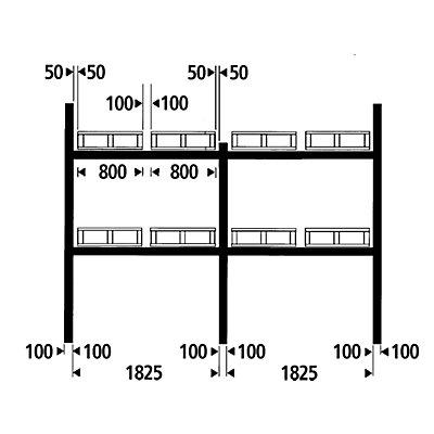 SLP Palettenregal-Auflagetraversen - Traversenlänge 1825 mm, 1 Paar