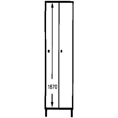 Wolf Schließfachschrank mit Füßen - HxBxT 1850 x 600 x 500 mm, 2 Fächer