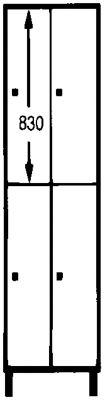 Wolf Schließfachschrank mit Sockel - HxBxT 1800 x 600 x 500 mm, 4 Fächer, silbergrau