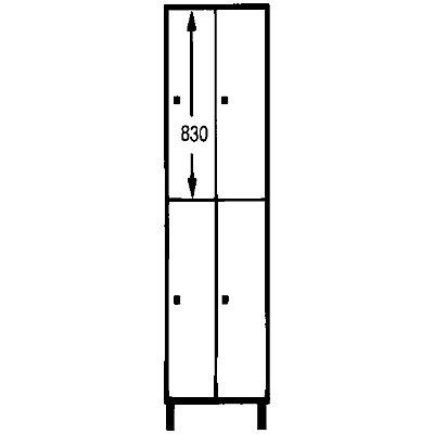 Wolf Schließfachschrank mit Füßen - HxBxT 1850 x 600 x 500 mm, 4 Fächer, silbergrau