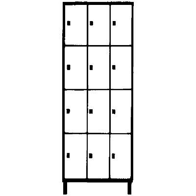 Wolf Stahlspind - mit Bodensockel, 12 Fächer, 300 mm, lichtgrau / silbergrau