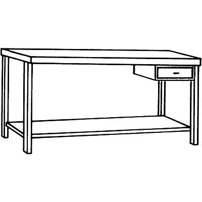 Edelstahl-Werkbank - 1 Schublade, 1 Fachboden voll