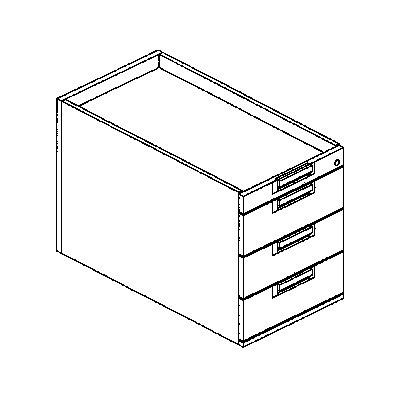 fm LENA Schreibtisch-Unterschrank - 1 Utensilienschub, 3 Materialschübe