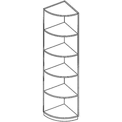 fm LENA Eckregal - 4 Fachböden, HxBxT 1869 x 442 x 442 mm