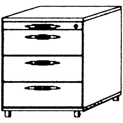 Hammerbacher VIOLA Rollcontainer - 1 Utensilienschub, 3 Materialschübe