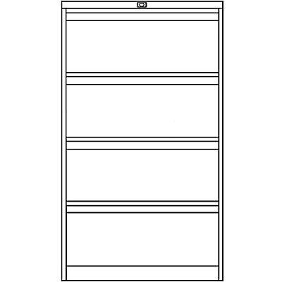 Bisley Classeur pour dossiers suspendus à 2 rangées, 4 tiroirs, format A4