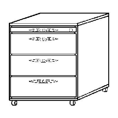 Hammerbacher FINO Rollcontainer - 1 Utensilienschub, 3 Schubladen