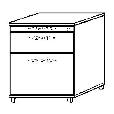 HAMMERBACHER FINO Rollcontainer - 1 Utensilienschub, 1 Schublade, 1 Hängeregistratur