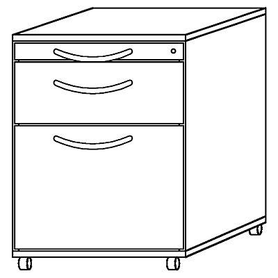 Hammerbacher BIANCA Rollcontainer - 1 Utensilienschub, 1 Materialschub, 1 Hängeregistratur