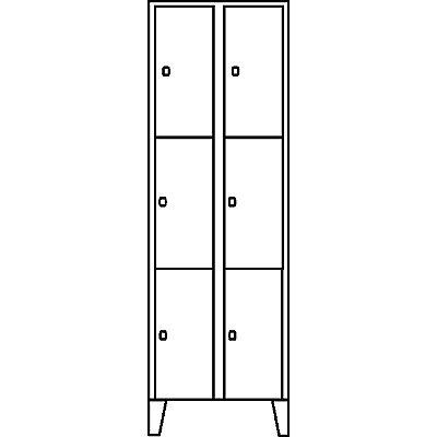 Wolf Schließfachschrank - 2 Abteile, 6 Fächer