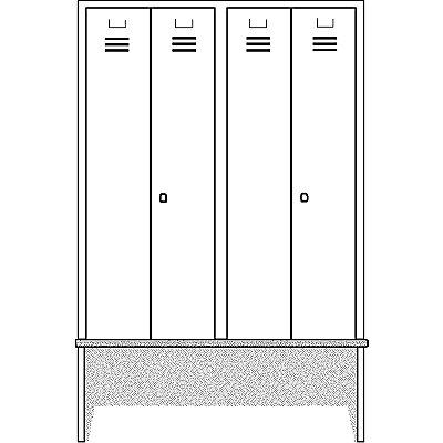 Wolf Kleiderspind mit vorgebauter Bank - Vollwand-Türen, Abteilbreite 600 mm, 2 Abteile
