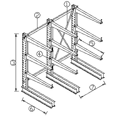 Längsverbinder - für Kragarmregal - Länge 1000 mm