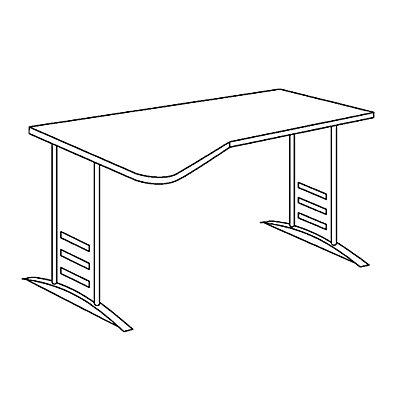 TINO Euro-EDV-Tisch mit C-Fußgestell, Arbeitsplattenvertiefung links