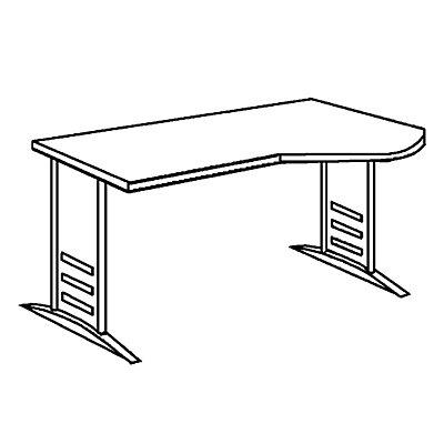 TINO Euro-EDV-Tisch mit C-Fußgestell, Arbeitsplattenvertiefung rechts
