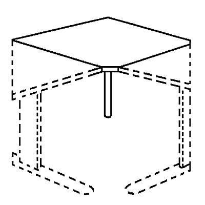 TINO Verkettung, Eckplatte 90°, inklusive Stützfuß
