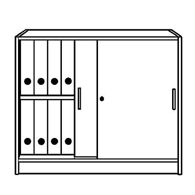 TINO Schiebetürenschrank, 1 Fachboden, 2 Ordnerhöhen