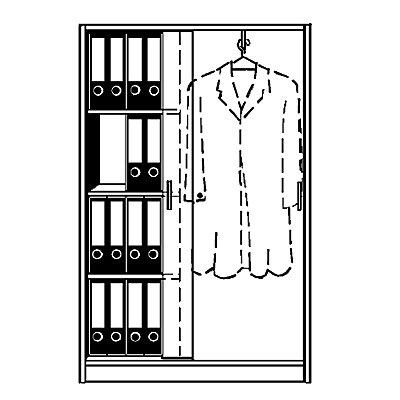 TINO Schiebetürenschrank, 3 Fachböden links, 4 Ordnerhöhen, rechts Garderobe