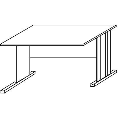 Wellemöbel BASIC-II Schreibtisch mit C-Fuß-Gestell, ein Fuß verkürzt - Breite 1200 mm